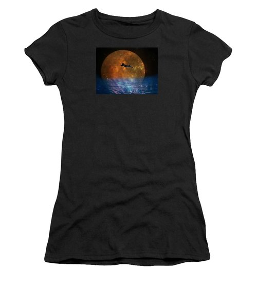 To The Moon And Back Cat Women's T-Shirt (Junior Cut) by Kathy Barney