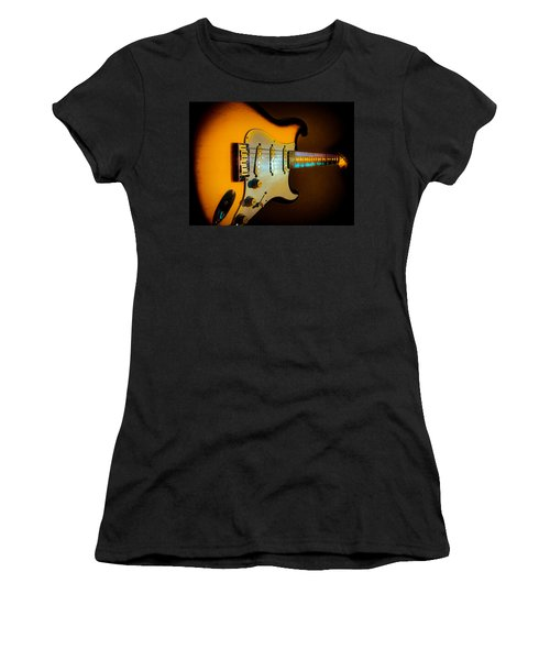 Women's T-Shirt featuring the digital art Tobacco Burst Stratocaster Glow Neck Series by Guitar Wacky