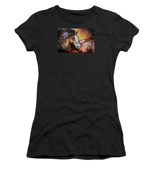 Tobiano Indian War Horse Women's T-Shirt