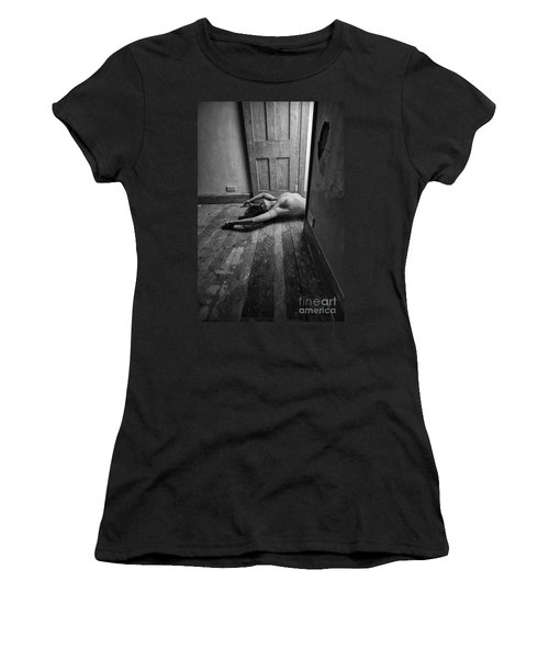 Topless Woman In Doorway Women's T-Shirt (Athletic Fit)