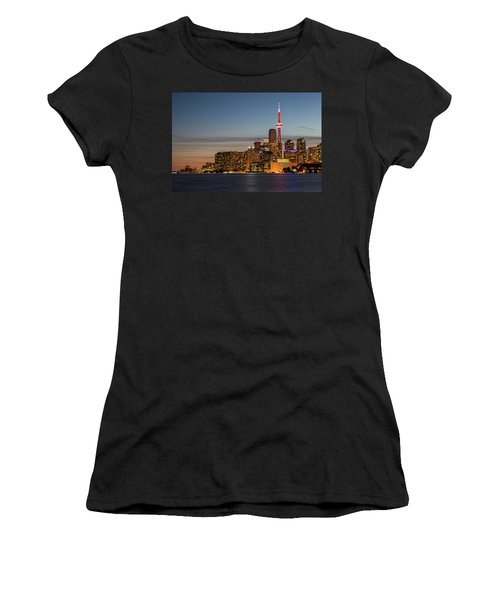 Women's T-Shirt (Athletic Fit) featuring the photograph Toronto Skyline At Dusk by Adam Romanowicz