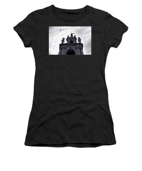 Women's T-Shirt featuring the photograph Tower Against The Clouds by Lorraine Devon Wilke
