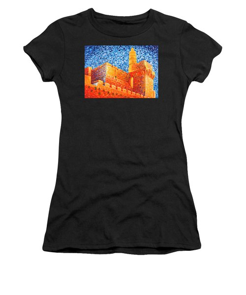 Women's T-Shirt (Athletic Fit) featuring the painting Tower Of David At Night Jerusalem Original Palette Knife Painting by Georgeta Blanaru