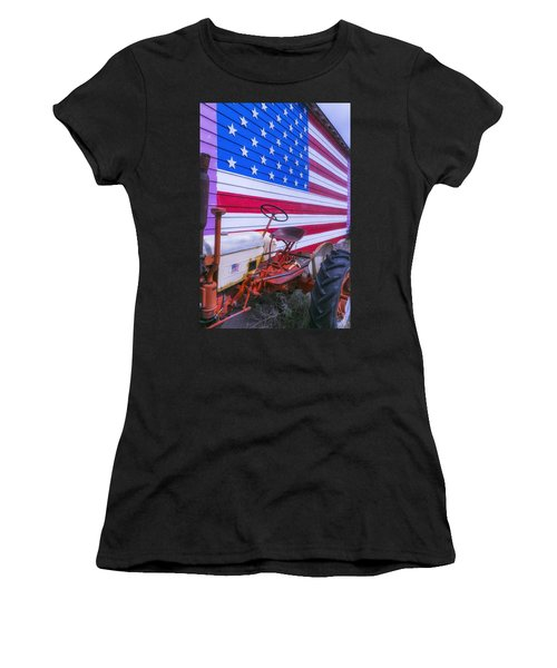 Tractor And Large Flag Women's T-Shirt