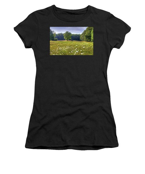 Tractor In Field With Flowers Women's T-Shirt (Athletic Fit)