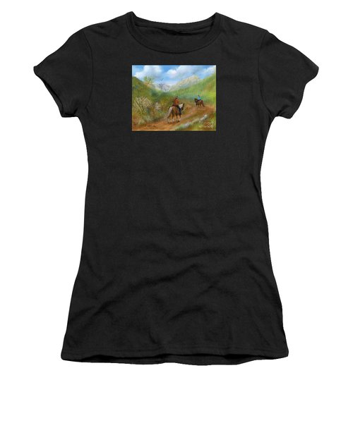 Trail Ride In Sabino Canyon Women's T-Shirt (Athletic Fit)