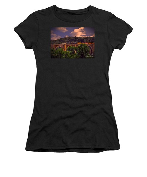 Women's T-Shirt (Junior Cut) featuring the photograph Train Trestle Over The James by Melissa Messick