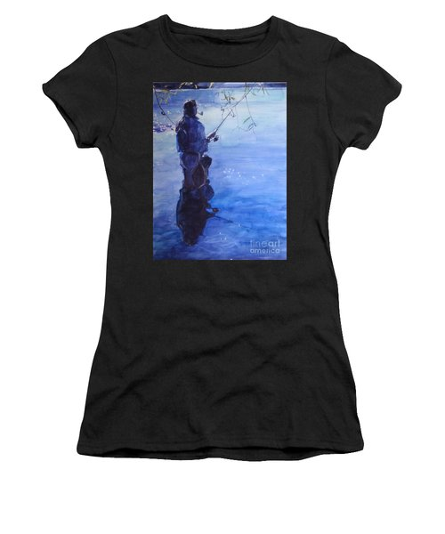 Watercolor Tranquil Fishing Women's T-Shirt (Athletic Fit)