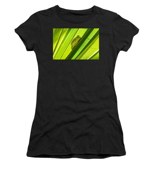 Tree Frog And Palm Frond Women's T-Shirt (Athletic Fit)