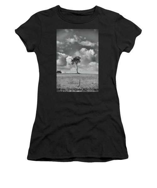 Women's T-Shirt (Athletic Fit) featuring the photograph Tree In A Field by Guy Whiteley