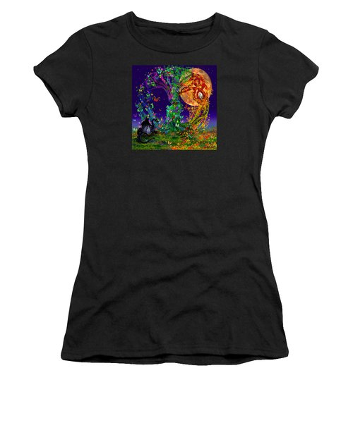 Tree Of Life With Owl And Dragon Women's T-Shirt (Athletic Fit)