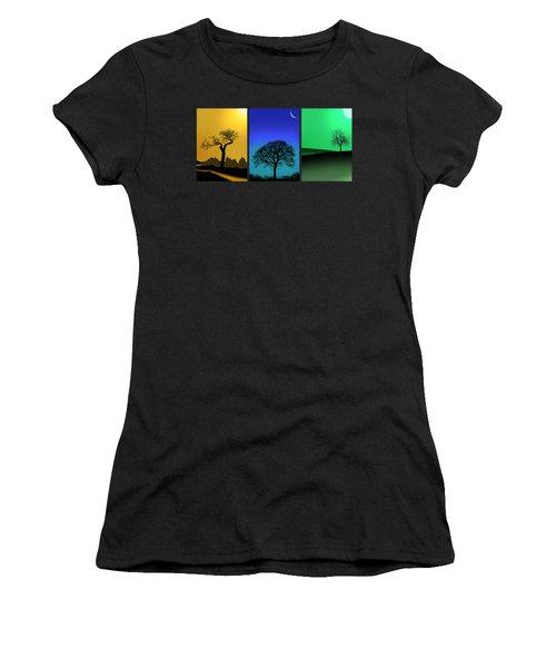 Tree Triptych Women's T-Shirt (Junior Cut) by Mark Rogan