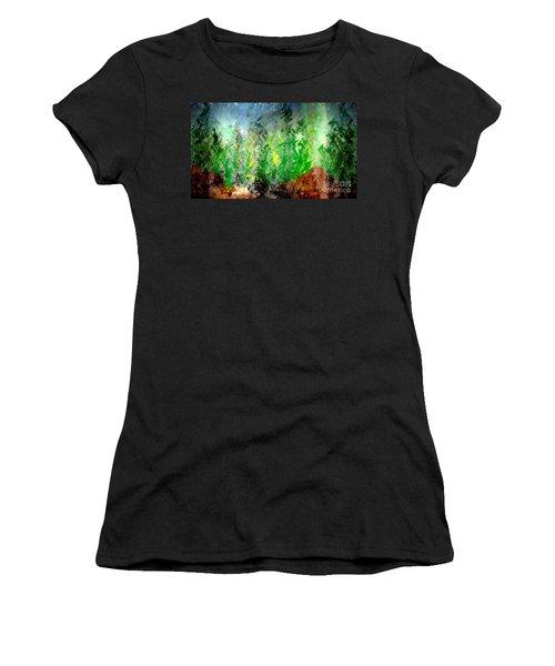 Women's T-Shirt (Junior Cut) featuring the painting Trees 4 by John Krakora