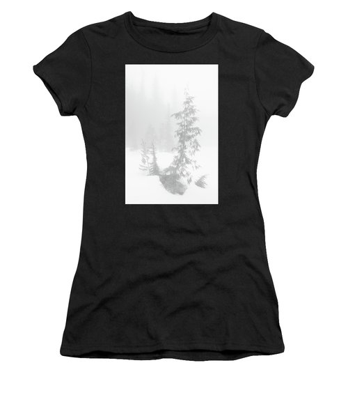 Trees In Fog Monochrome Women's T-Shirt