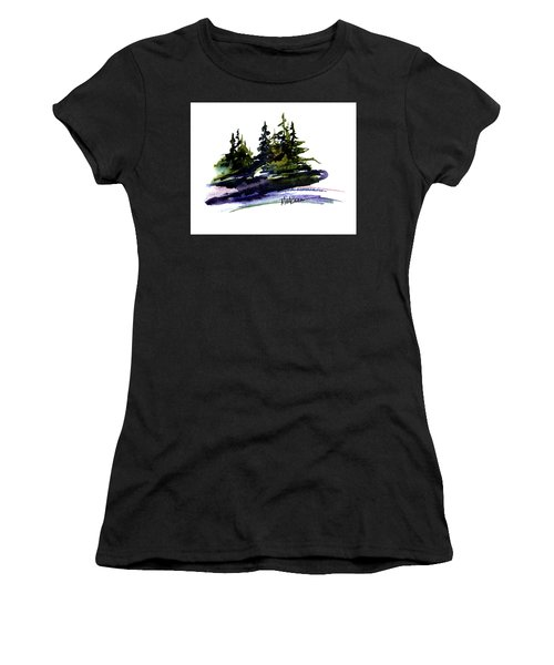 Women's T-Shirt (Junior Cut) featuring the painting Trees by Marti Green