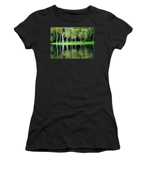 Women's T-Shirt (Junior Cut) featuring the photograph Trees Reflected In Water by Colin Rayner