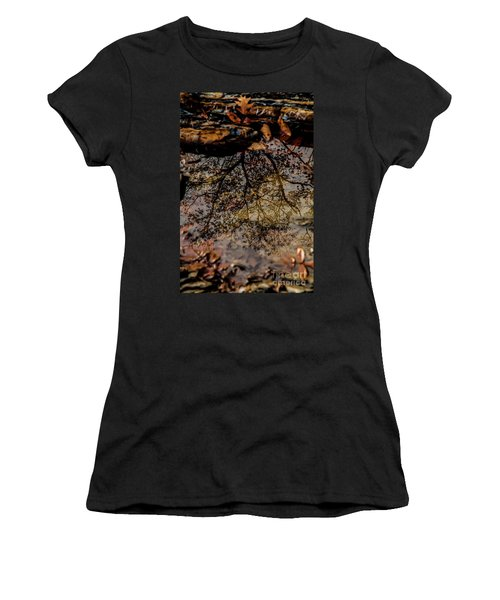 Women's T-Shirt (Junior Cut) featuring the photograph Tree's Reflection by Iris Greenwell