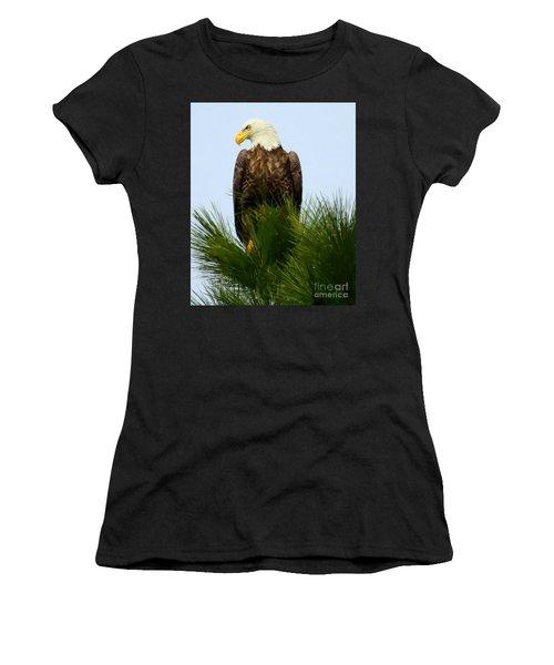 Women's T-Shirt (Junior Cut) featuring the photograph Treetop Eagle by Myrna Bradshaw