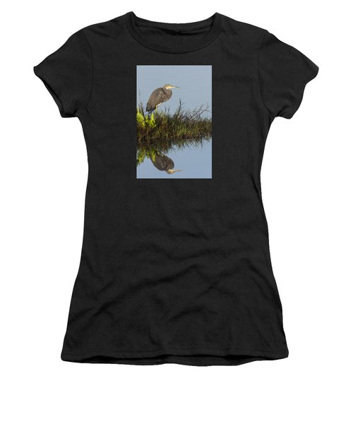 Tri-colored Heron And Reflection Women's T-Shirt