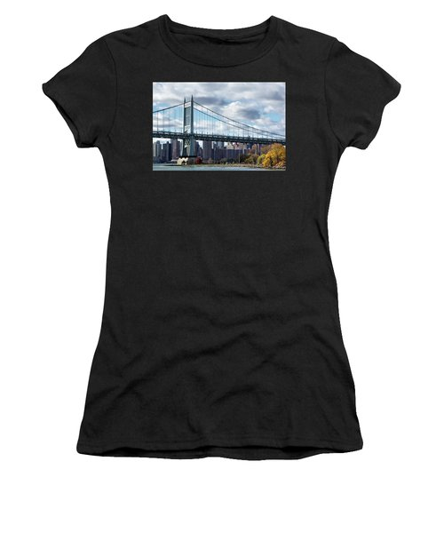 Triboro Bridge In Autumn Women's T-Shirt (Athletic Fit)