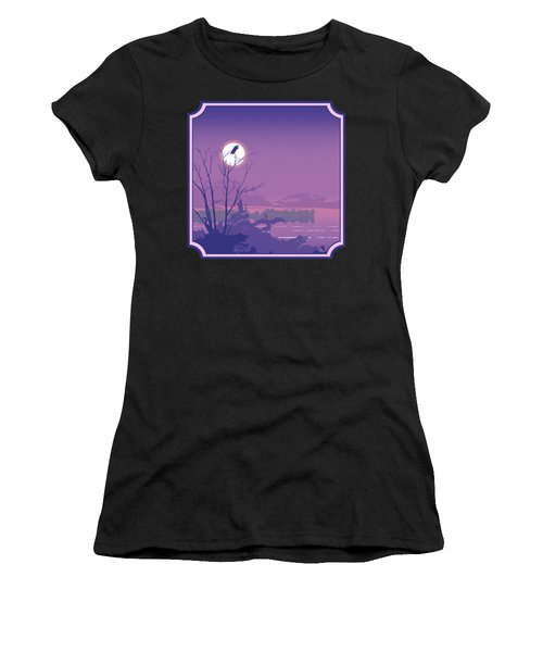 Tropical Birds Sunset Purple Abstract - Square Format Women's T-Shirt (Athletic Fit)
