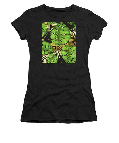 Tropical Haze Noir Green Monstera Leaves, Golden Palm Fronds On Black Women's T-Shirt (Athletic Fit)