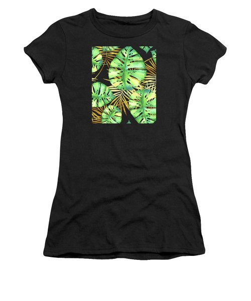 Tropical Haze Noir Variegated Monstera Leaves, Golden Palm Fronds On Black Women's T-Shirt
