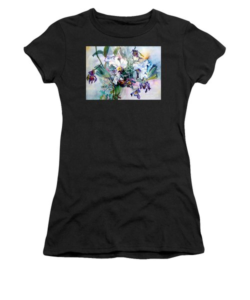 Tropical White Orchids Women's T-Shirt (Athletic Fit)
