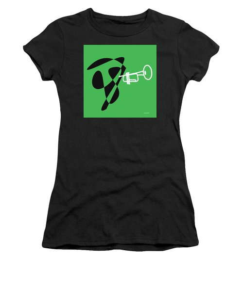 Women's T-Shirt (Junior Cut) featuring the digital art Trumpet In Green by Jazz DaBri