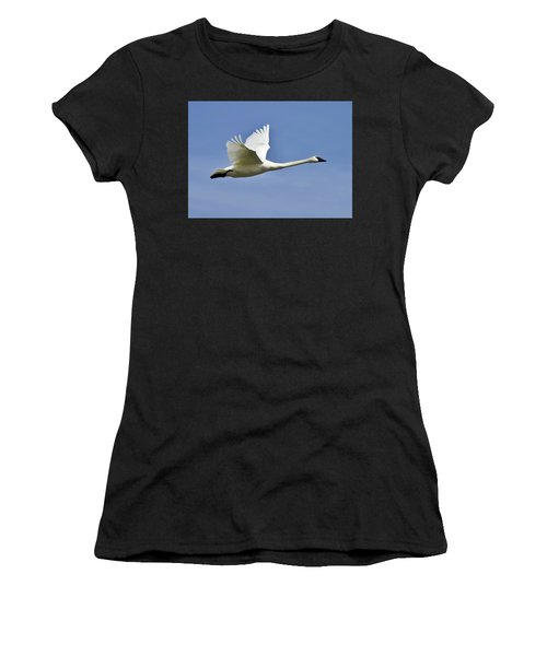 Trumpeter Swan In Flight Women's T-Shirt (Athletic Fit)