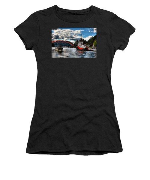Tugboat At The Rainbow Bridge Women's T-Shirt (Junior Cut) by David Patterson