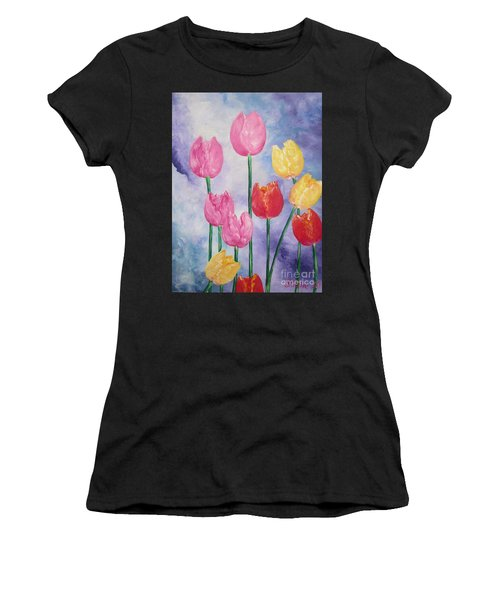 Ten  Simple  Tulips  Pink Red Yellow                                Flying Lamb Productions   Women's T-Shirt