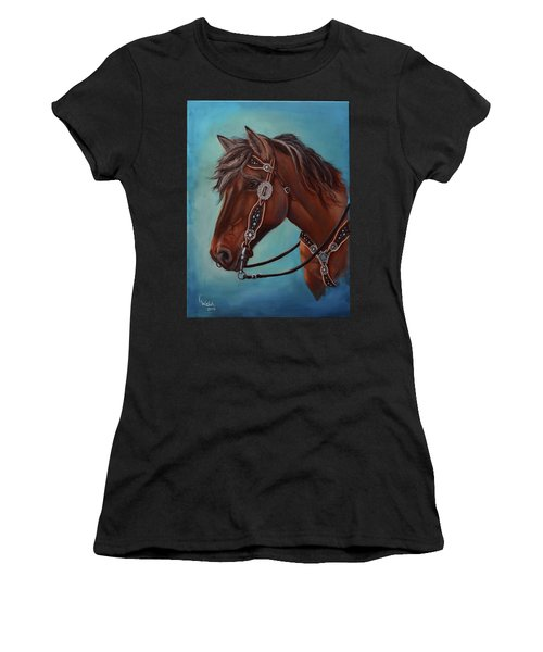 Turquoise And Silver Women's T-Shirt (Athletic Fit)