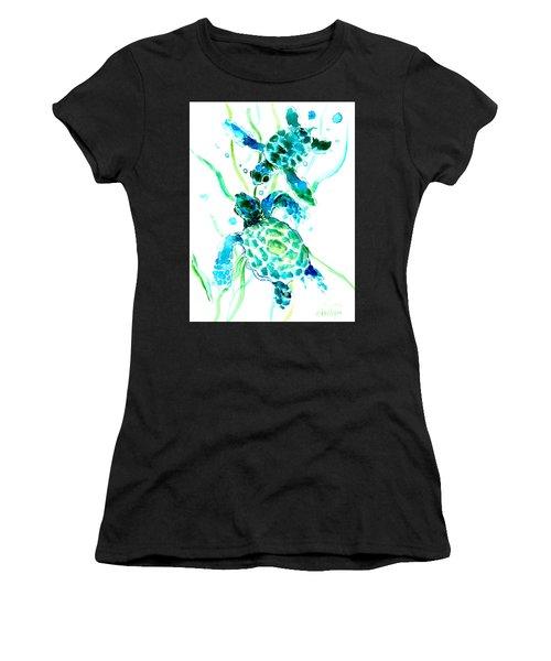 Turquoise Indigo Sea Turtles Women's T-Shirt (Athletic Fit)