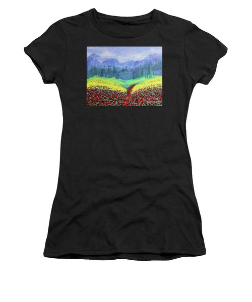 Tuscan Poppies Women's T-Shirt (Athletic Fit)