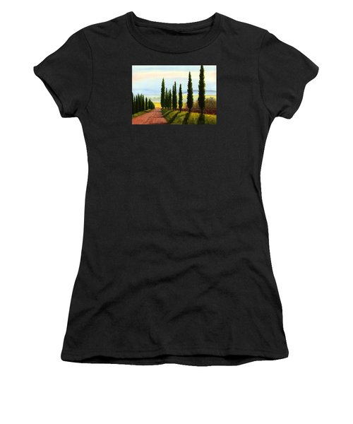 Women's T-Shirt (Junior Cut) featuring the painting Tuscany Cypress Trees by Janet King