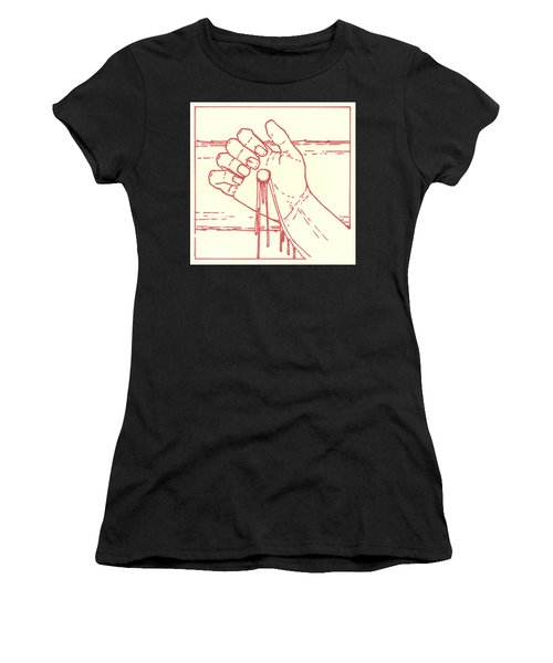 Women's T-Shirt featuring the drawing Twelfth Station- Jesus Is Raised Upon The Cross And Dies  by William Hart McNichols