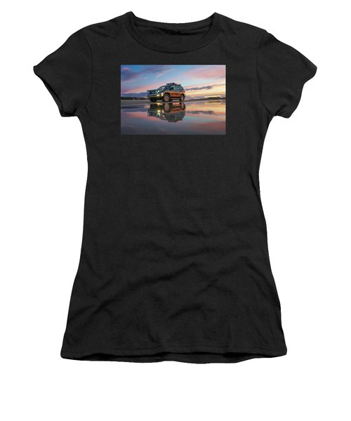 Twilight Beach Reflections And 4wd Car Women's T-Shirt