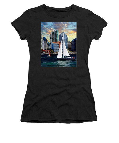 Twilight Harbor Curise1 Women's T-Shirt (Junior Cut) by Chambers and  De Forge