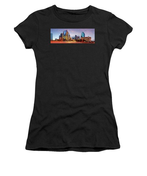 Twilight Panorama Of Downtown Dallas Skyline - North Akard Street Dallas Texas Women's T-Shirt