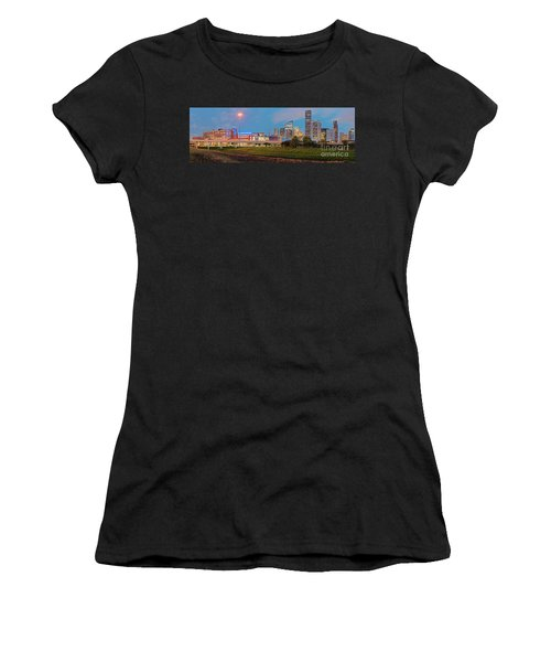 Twilight Panorama Of Downtown Houston Skyline And University Of Houston - Harris County Texas Women's T-Shirt