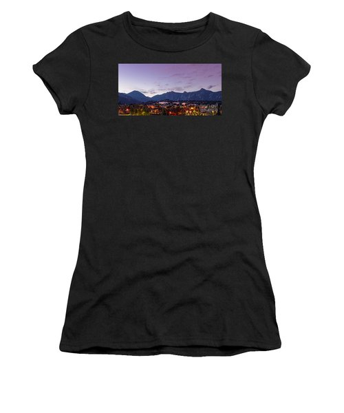 Twilight Panorama Of Estes Park, Stanley Hotel, Castle Mountain And Lumpy Ridge - Rocky Mountains  Women's T-Shirt