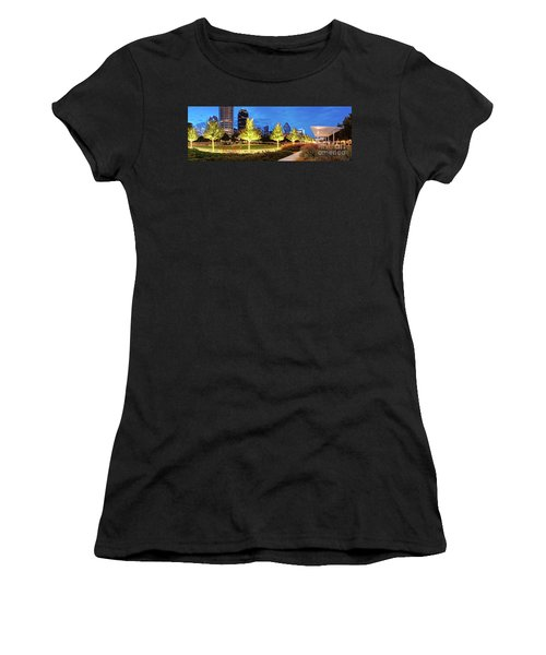 Twilight Panorama Of Klyde Warren Park And Downtown Dallas Skyline - North Texas Women's T-Shirt