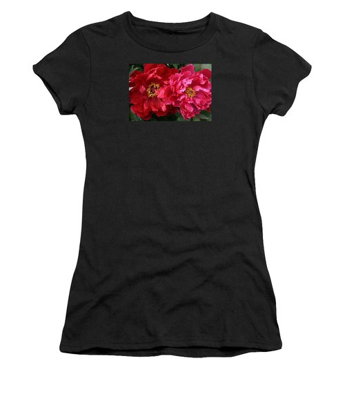 Twin Peonies Women's T-Shirt (Athletic Fit)