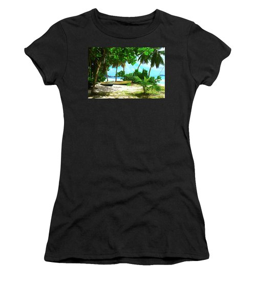 Two Boats On Tropical Beach Women's T-Shirt (Athletic Fit)