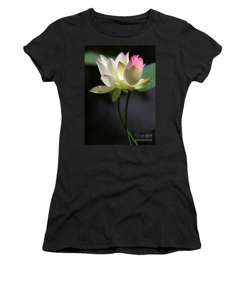 Two Lotus Flowers Women's T-Shirt (Athletic Fit)