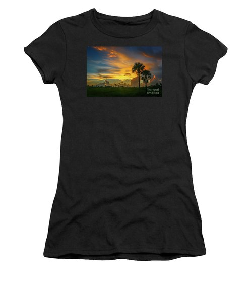 Two Palm Silhouette Sunrise Women's T-Shirt (Athletic Fit)