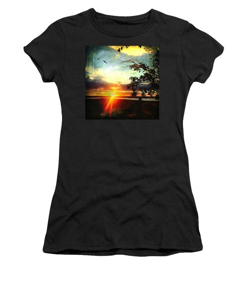 Two Souls Flying Off Into The Sunset  Women's T-Shirt (Junior Cut) by Debra Martz