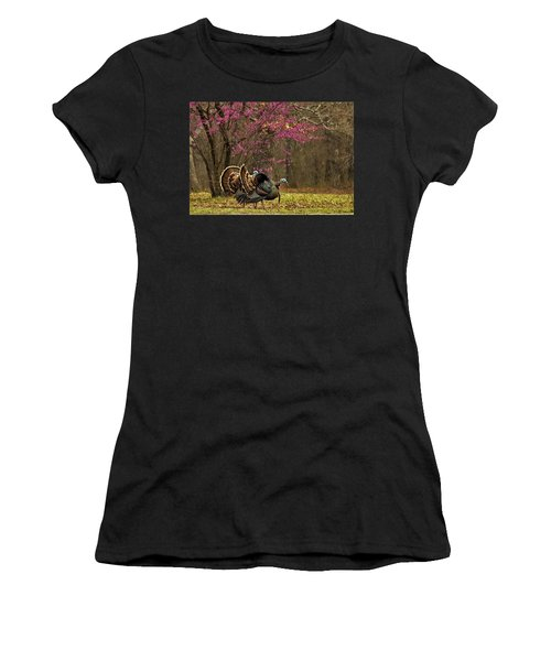 Two Tom Turkey And Redbud Tree Women's T-Shirt (Athletic Fit)