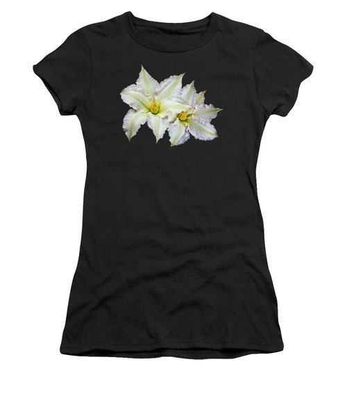 Two White Clematis Flowers On Black Women's T-Shirt (Junior Cut) by Jane McIlroy